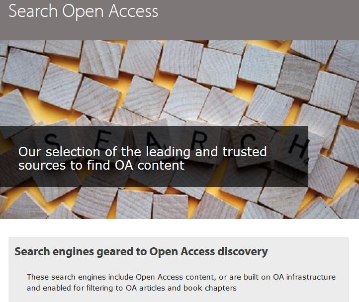 A screenshot containing the following text: 'Search Open Access. Our selection of the leading and trusted sources to find OA content'